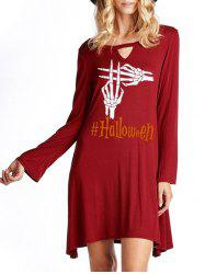 Halloween Skeleton Hands Print Keyhole Dress -