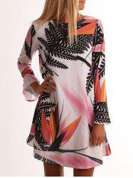 Leaf Print Bell Sleeve Tunic Dress -