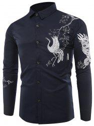 Chinoiserie Bird Print Long Sleeve Shirt -
