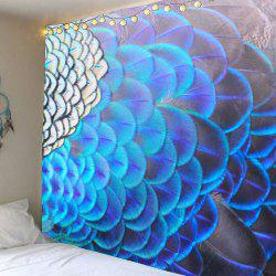 Peacock Feathers Pattern Waterproof Wall Art Tapestry -