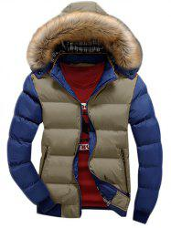Detachable Faux Fur Hood Zip Up Two Tone Quilted Jacket -