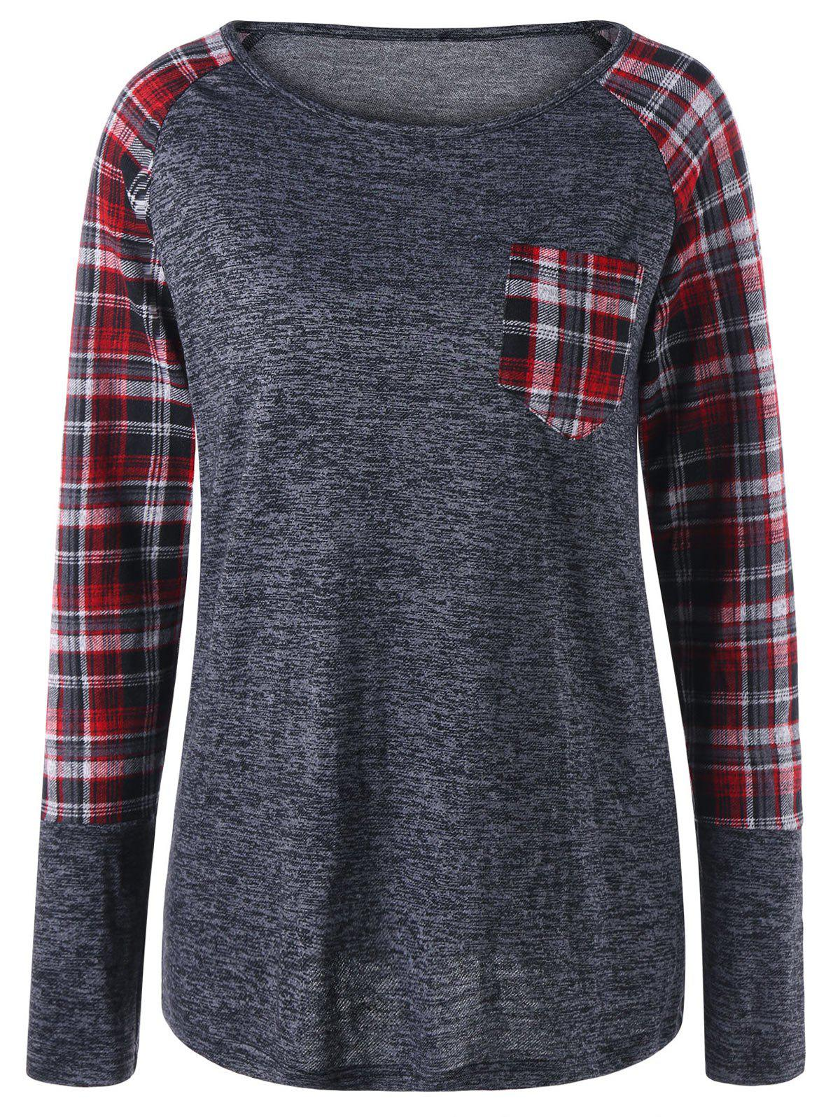 Plaid Patch Pocket Raglan Sleeve TopWOMEN<br><br>Size: M; Color: GRAY; Material: Polyester; Shirt Length: Regular; Sleeve Length: Full; Collar: Round Neck; Style: Casual; Pattern Type: Plaid; Season: Fall,Spring; Weight: 0.2400kg; Package Contents: 1 x Top;