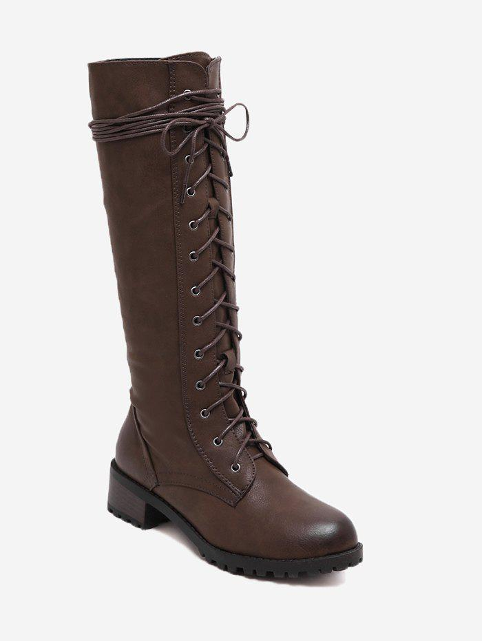 Cheap Side Zip Tie Up Mid-calf Boots