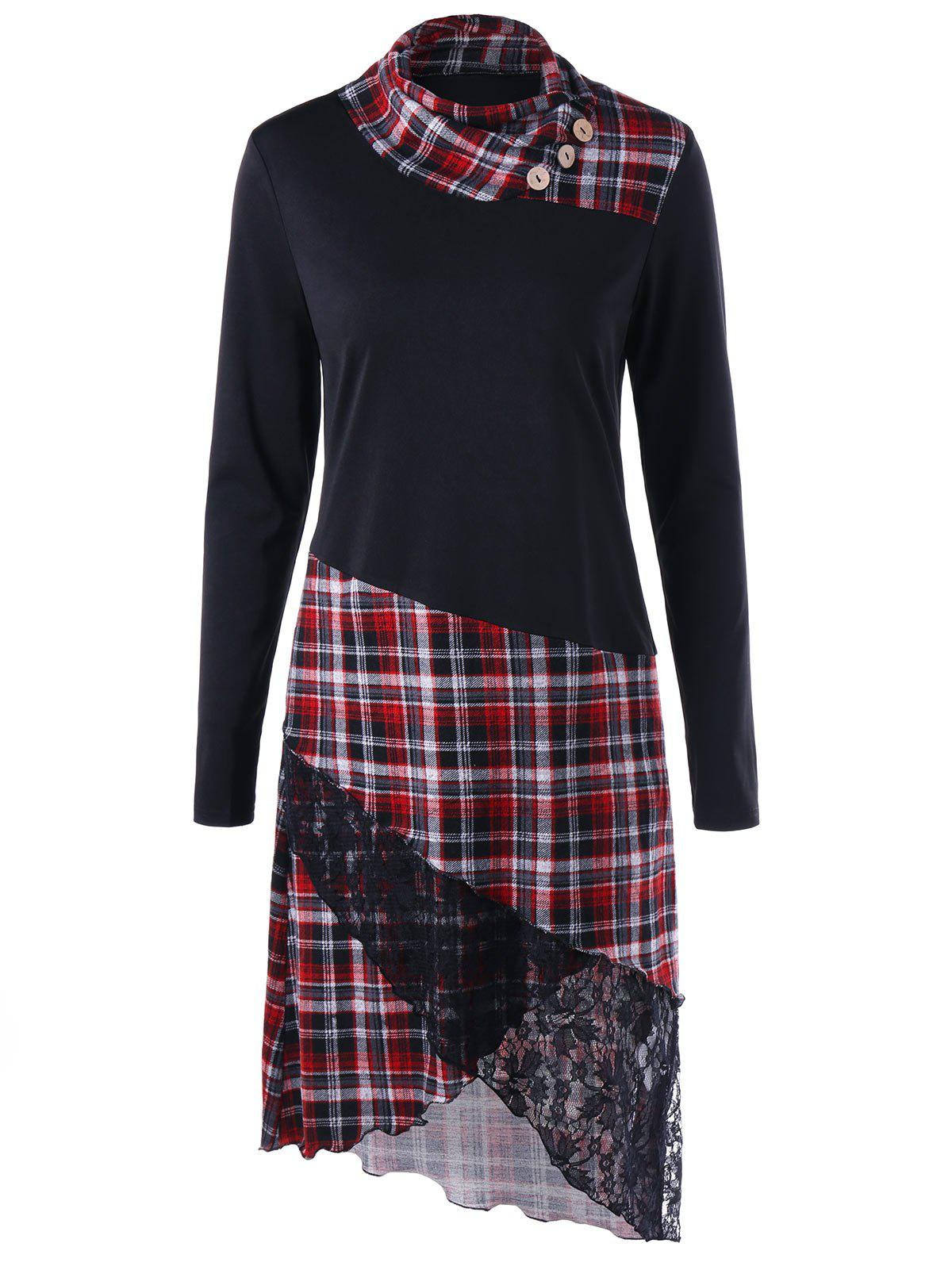 Lace Trim Plaid Overlap Tee DressWOMEN<br><br>Size: XL; Color: BLACK; Style: Casual; Material: Polyester,Spandex; Silhouette: Shift; Dresses Length: Knee-Length; Neckline: Heaps Collar; Sleeve Length: Long Sleeves; Embellishment: Button; Pattern Type: Plaid; With Belt: No; Season: Fall,Spring; Weight: 0.4000kg; Package Contents: 1 x Dress; Occasion: Casual ,Going Out;