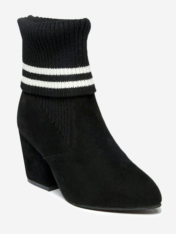 Latest Striped Pointed Toe Mid Heel Boots