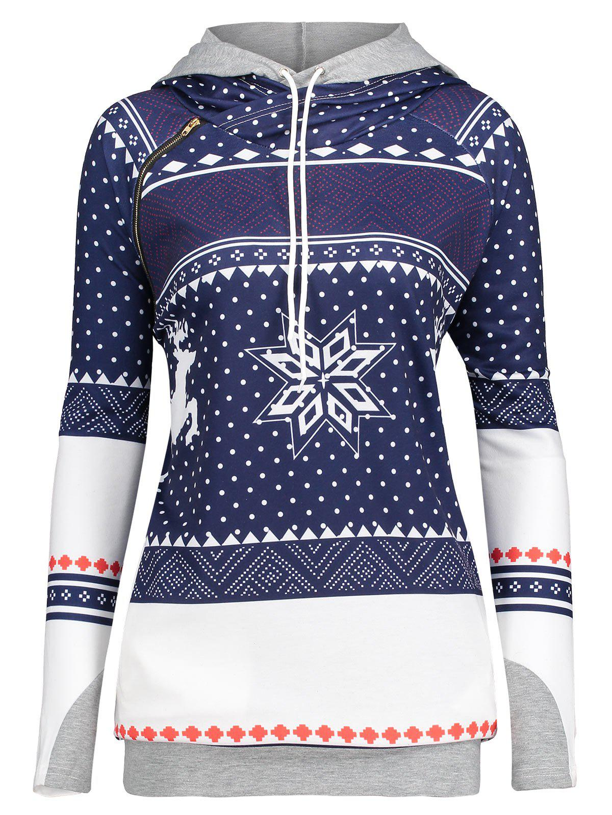 Christmas Snowflake Elk Plus Size Double HoodieWOMEN<br><br>Size: 2XL; Color: GEOMETRIC PRINT; Material: Polyester,Spandex; Shirt Length: Regular; Sleeve Length: Full; Style: Fashion; Pattern Style: Others; Season: Fall,Spring; Weight: 0.4200kg; Package Contents: 1 x Hoodie;
