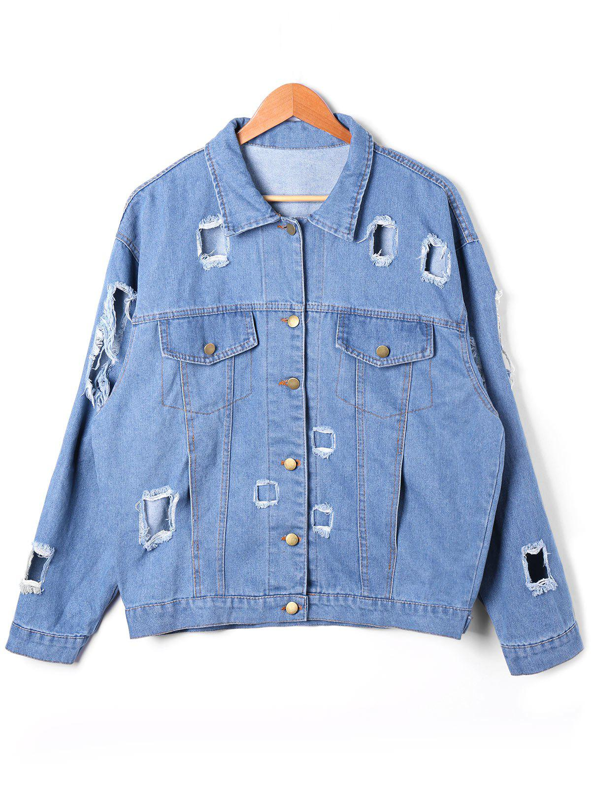Shop Flap Pockets Holes Denim Jacket