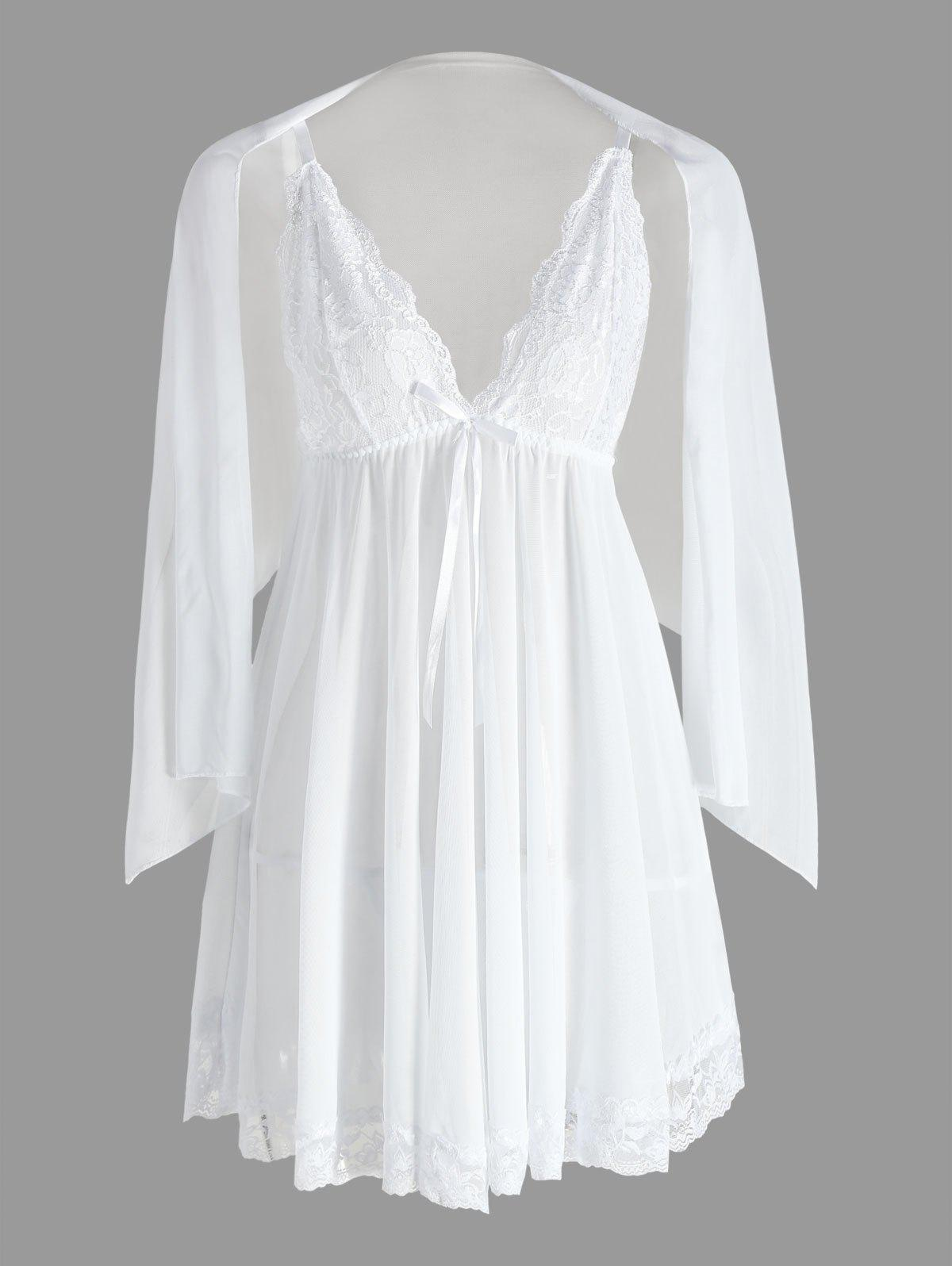 Mesh Sheer Slip BabydollWOMEN<br><br>Size: XL; Color: WHITE; Material: Cotton,Polyester; Pattern Type: Solid; Embellishment: Backless,Lace; Weight: 0.1700kg; Package Contents: 1 x Babydoll  1 x T Back  1 x Mesh Scarf;