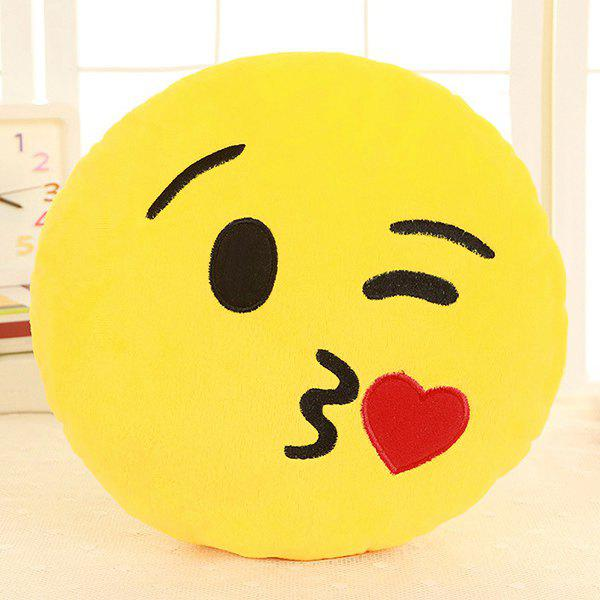 Cartoon Smile Face Emoticon Pattern Pillow CaseHOME<br><br>Color: YELLOW AND RED; Material: Other; Pattern: Other; Style: Modern/Contemporary; Size(CM): 33*33cm; Weight: 0.2550kg; Package Contents: 1 x Pillow Case;