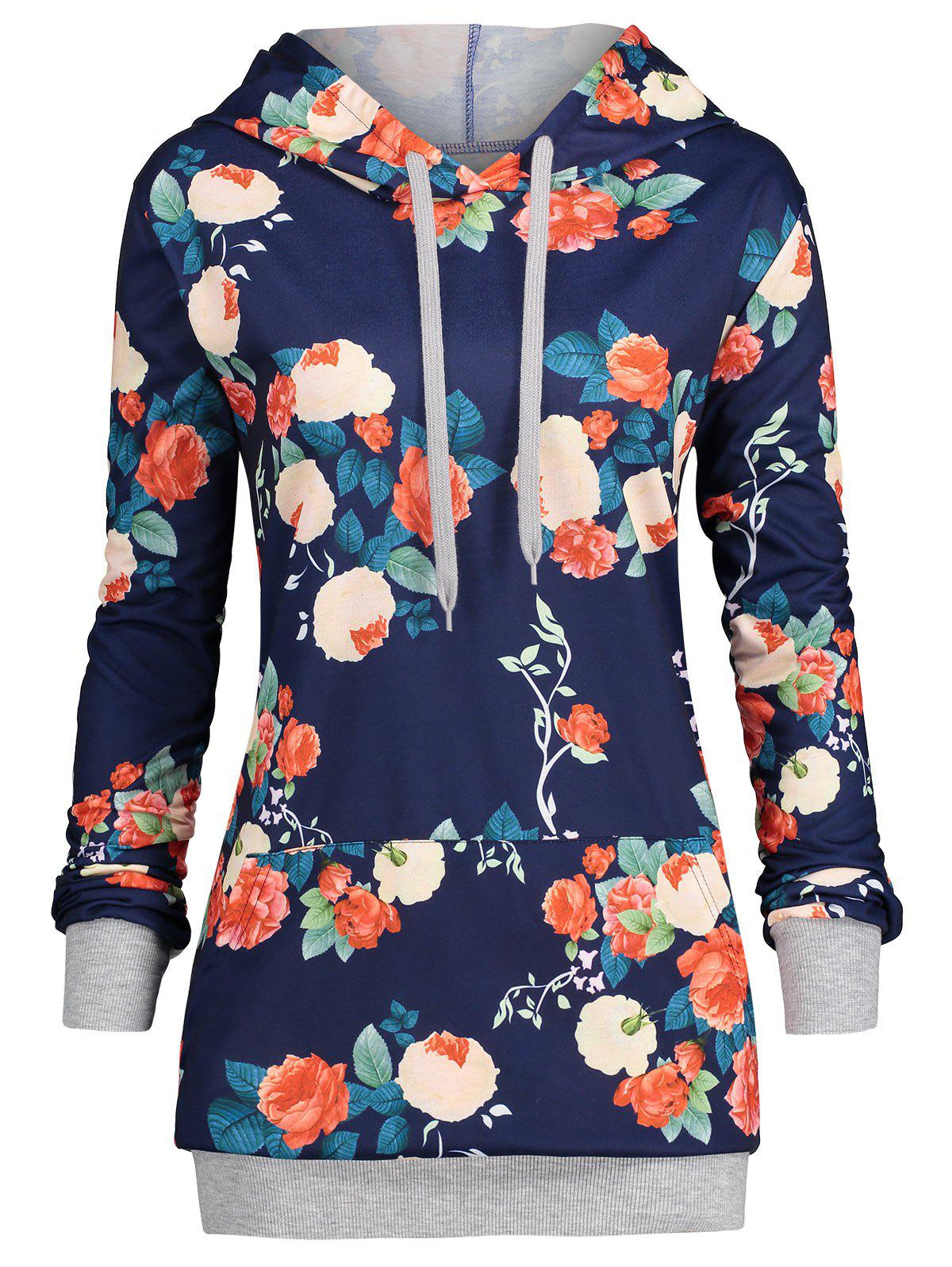 Kangaroo Pocket Plus Size Floral HoodieWOMEN<br><br>Size: 3XL; Color: BLUE; Material: Polyester,Spandex; Shirt Length: Regular; Sleeve Length: Full; Style: Fashion; Pattern Style: Floral; Season: Fall,Spring; Weight: 0.4200kg; Package Contents: 1 x Hoodie;