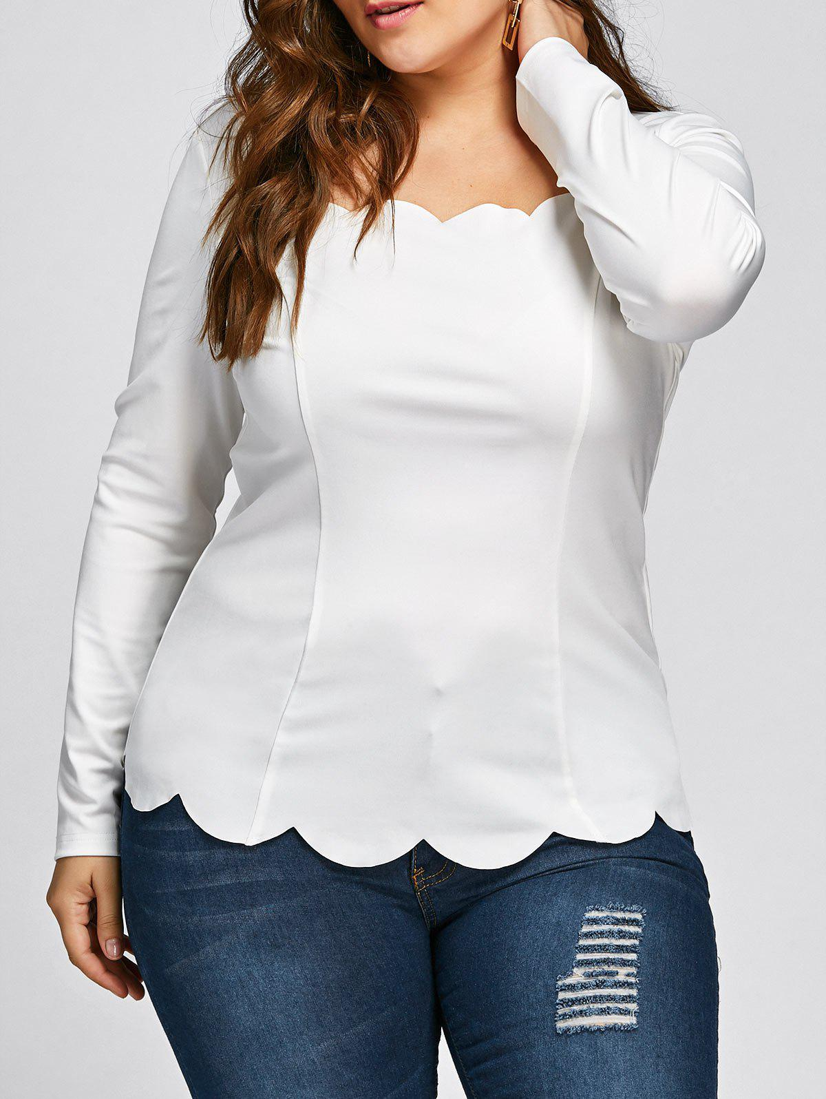 3f12d40978a3a7 47% OFF] Plus Size Square Neck Scalloped Long Sleeve Top | Rosegal