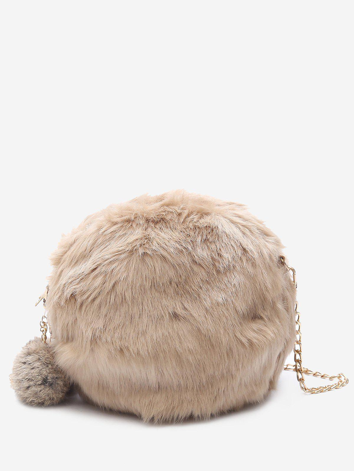 Latest Pompom Chain Faux Fur Crossbody Bag