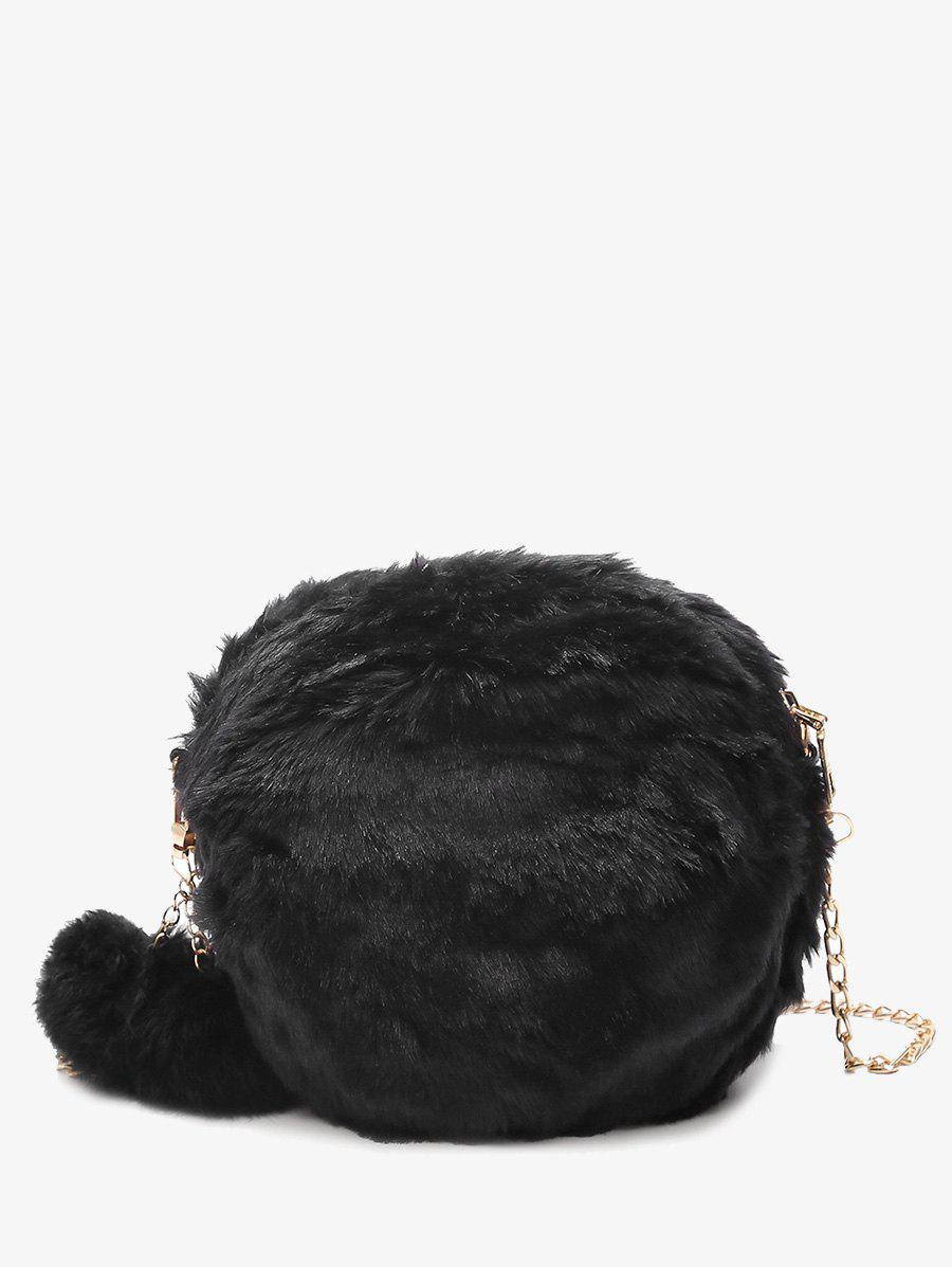 Pompom Chain Faux Fur Crossbody BagSHOES &amp; BAGS<br><br>Color: BLACK; Handbag Type: Crossbody bag; Style: Fashion; Gender: For Women; Pattern Type: Solid; Handbag Size: Mini(&lt;20cm); Closure Type: Zipper; Occasion: Versatile; Main Material: Fur; Weight: 0.3500kg; Size(CM)(L*W*H): 19*8*19; Package Contents: 1 x Crossbody Bag;