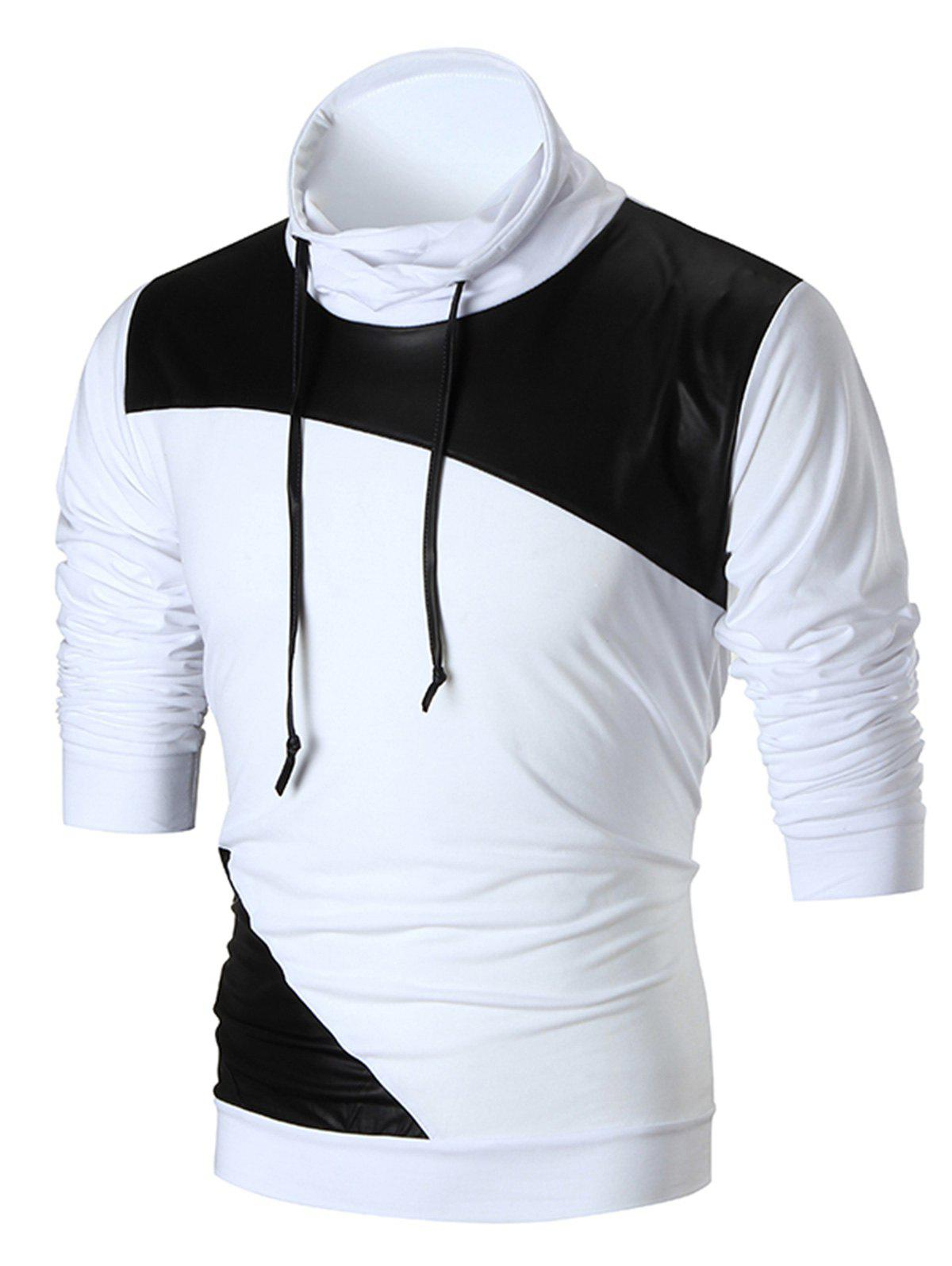 Faux Leather Panel Stretch Pullover SweatshirtMEN<br><br>Size: L; Color: WHITE; Material: Cotton,Polyester,Spandex; Clothes Type: Sweatshirt; Shirt Length: Regular; Sleeve Length: Full; Style: Fashion; Patterns: Color Block; Thickness: Thin; Occasion: Casual ,Club,Daily Use,Going Out,Sports; Weight: 0.3100kg; Package Contents: 1 x Sweatshirt;