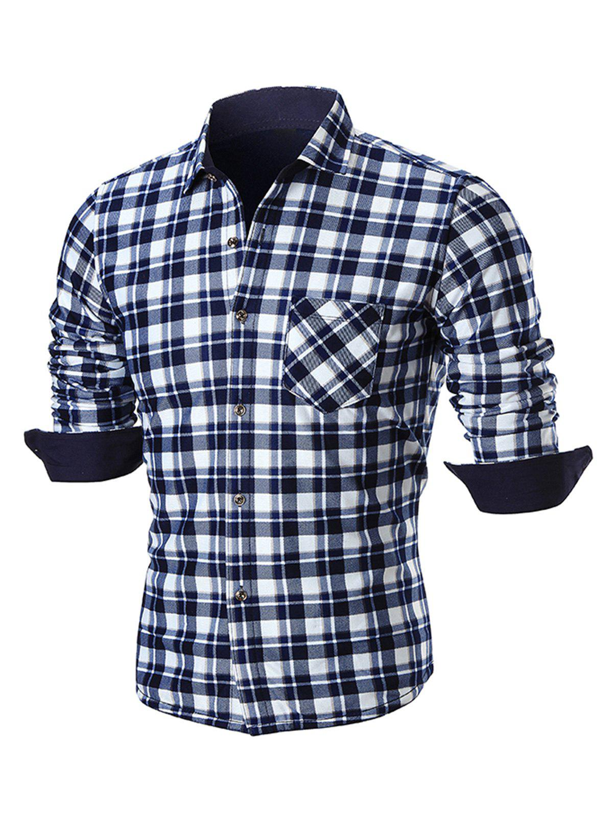 Fancy Pocket Turn Down Collar Plaid Shirt