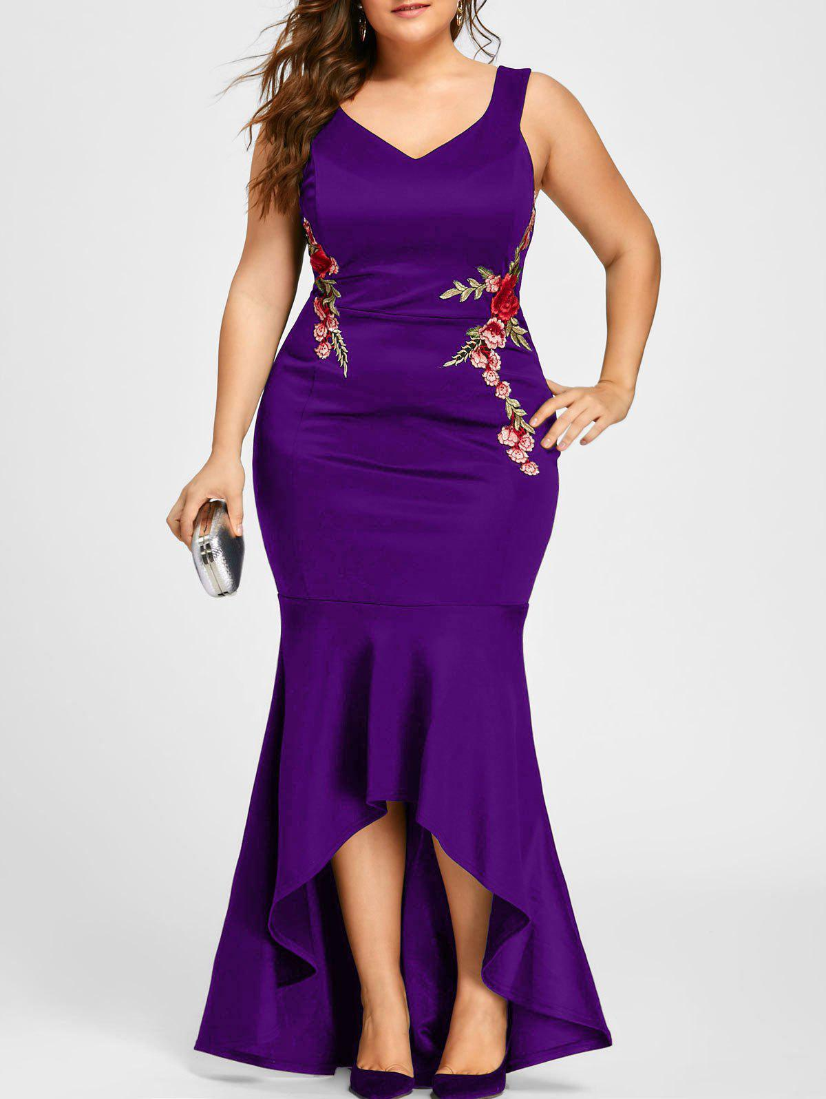 Plus Size Sleeveless Party Mermaid Engagement DressWOMEN<br><br>Size: 3XL; Color: PURPLE; Style: Brief; Material: Polyester,Spandex; Silhouette: Trumpet/Mermaid; Dresses Length: Floor-Length; Neckline: V-Neck; Sleeve Length: Sleeveless; Embellishment: Appliques,Embroidery; Pattern Type: Floral; With Belt: No; Season: Fall,Spring,Summer; Weight: 0.5500kg; Package Contents: 1 x Dress;