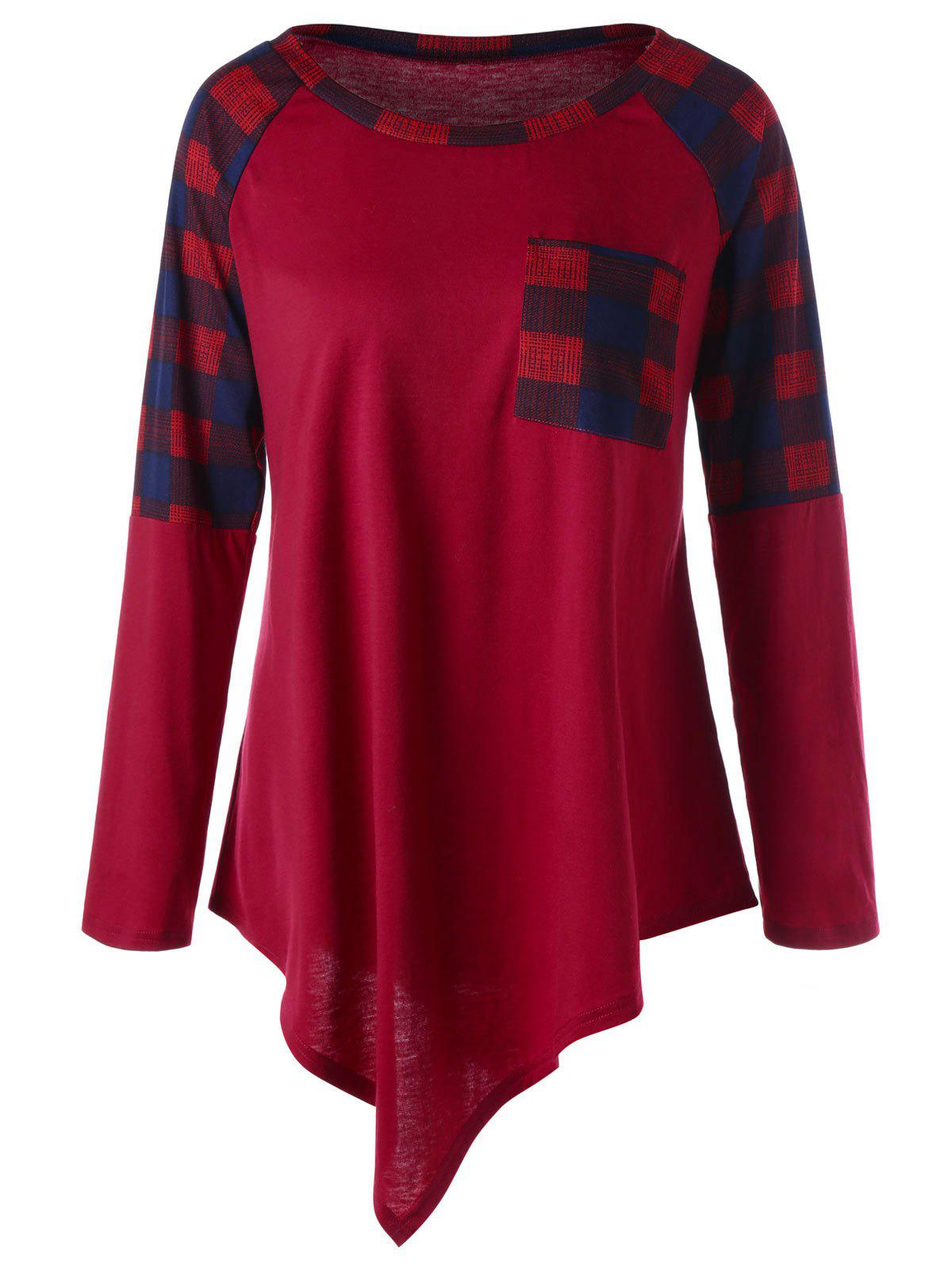 Plus Size Raglan Sleeve Plaid Asymmetrical TopWOMEN<br><br>Size: 5XL; Color: WINE RED; Material: Polyester,Spandex; Shirt Length: Long; Sleeve Length: Full; Collar: Round Neck; Style: Casual; Season: Fall,Spring; Embellishment: Pockets; Pattern Type: Plaid; Weight: 0.2700kg; Package Contents: 1 x Top;