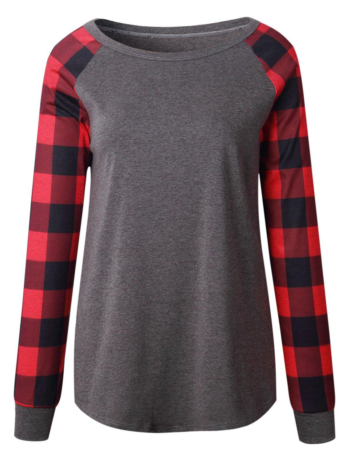 Plaid Insert Raglan Sleeve TopWOMEN<br><br>Size: L; Color: DEEP GRAY; Material: Polyester,Spandex; Shirt Length: Regular; Sleeve Length: Full; Collar: Round Neck; Style: Casual; Pattern Type: Plaid; Season: Fall,Spring; Weight: 0.3200kg; Package Contents: 1 x Top;