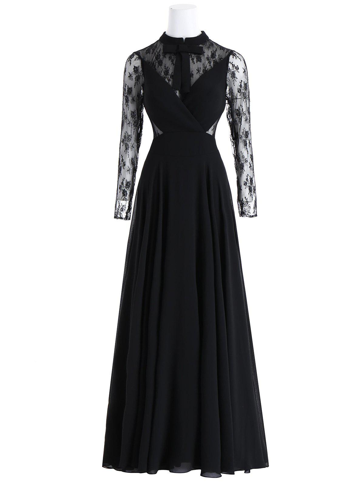 Online Bowknot Lace Insert Maxi Prom Evening Dress