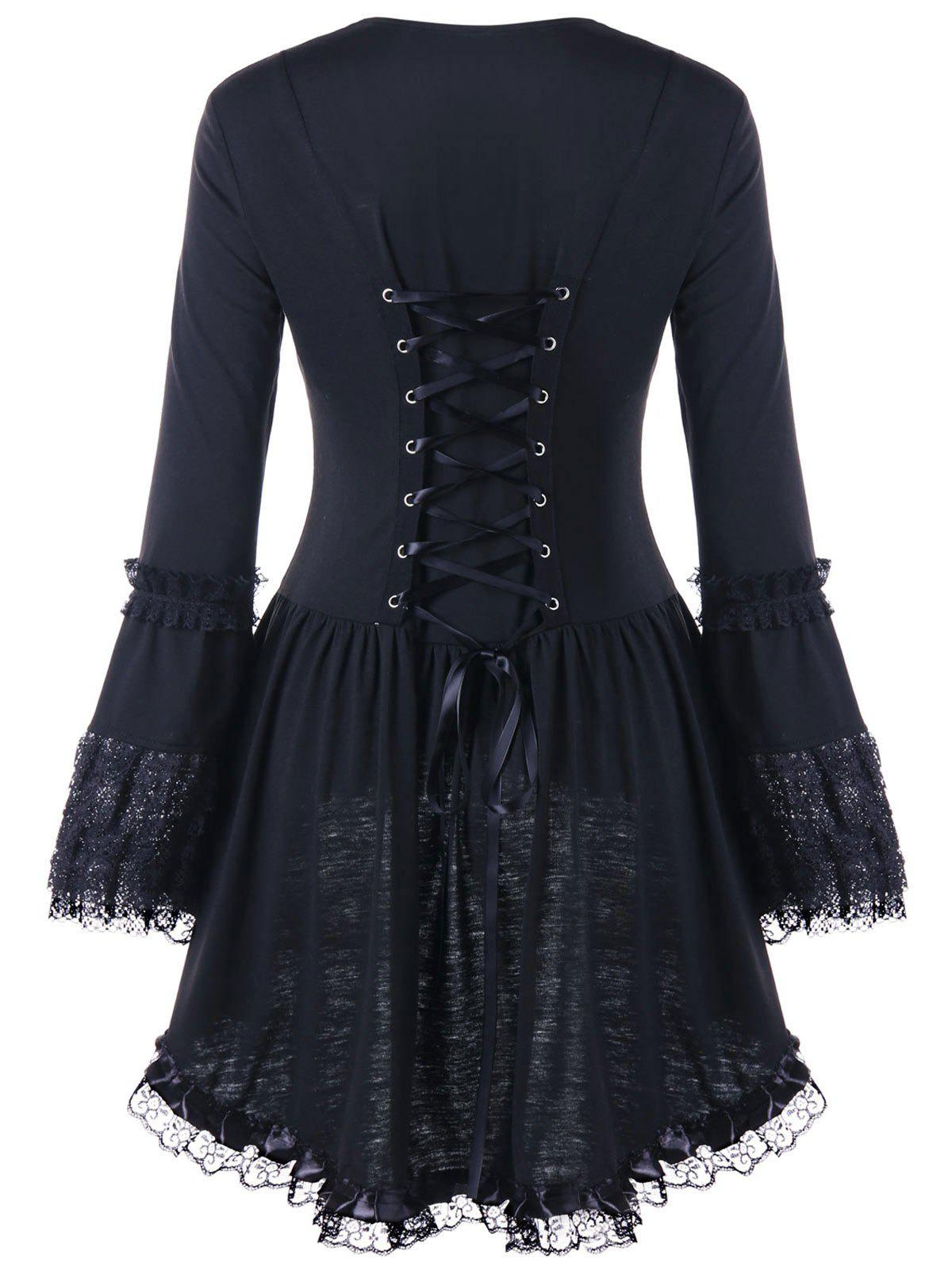 Halloween Lace Up Sweetheart Neck TopWOMEN<br><br>Size: M; Color: BLACK; Material: Polyester,Spandex; Shirt Length: Long; Sleeve Length: Full; Collar: Sweetheart Neck; Style: Gothic; Embellishment: Lace; Pattern Type: Solid; Season: Fall,Spring; Weight: 0.3400kg; Package Contents: 1 x Top;