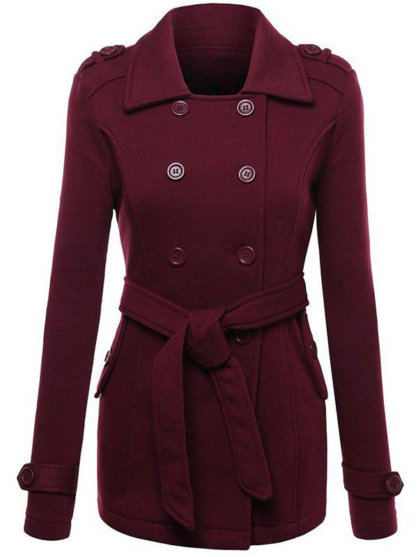 Unique Belted Double Breasted Wool Blend Trench Coat