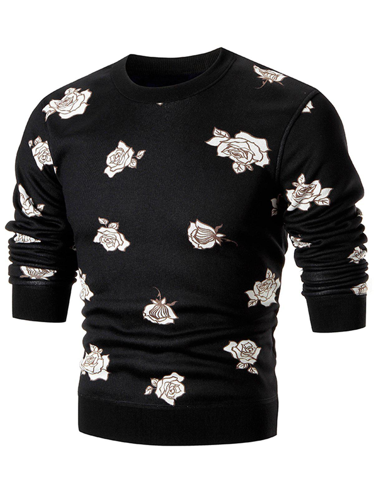 Cheap Rose Print Crew Neck Knitted Pullover Sweater