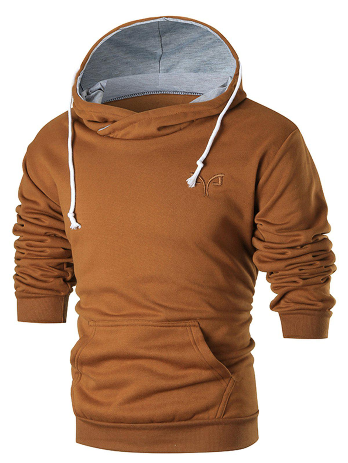Chest Embroidered Warm Pullover HoodieMEN<br><br>Size: XL; Color: BROWN; Material: Cotton,Polyester; Clothes Type: Hoodie; Shirt Length: Regular; Sleeve Length: Full; Style: Casual; Patterns: Solid; Thickness: Thick; Occasion: Casual,Daily Use,Going Out; Weight: 0.4100kg; Package Contents: 1 x Hoodie;