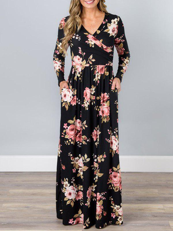 Discount V Neck Floral Long Beach Dress