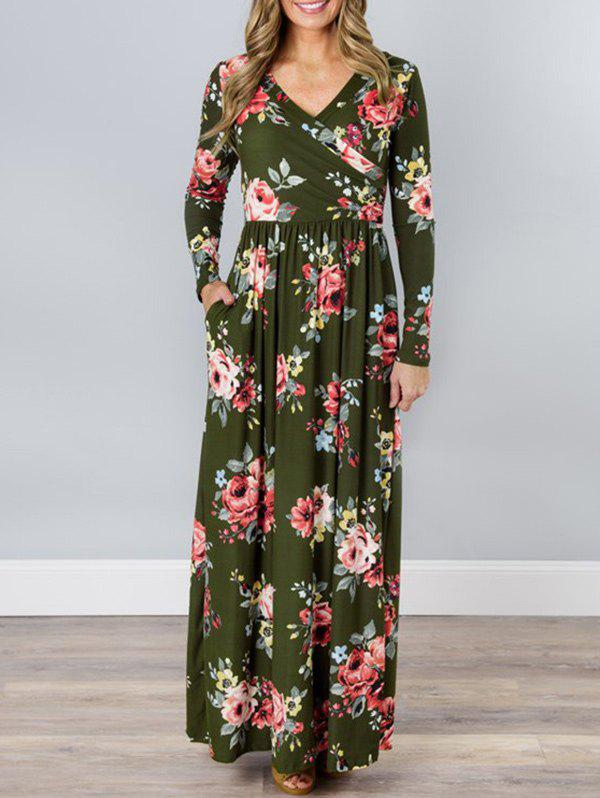 Hot V Neck Floral Long Beach Dress
