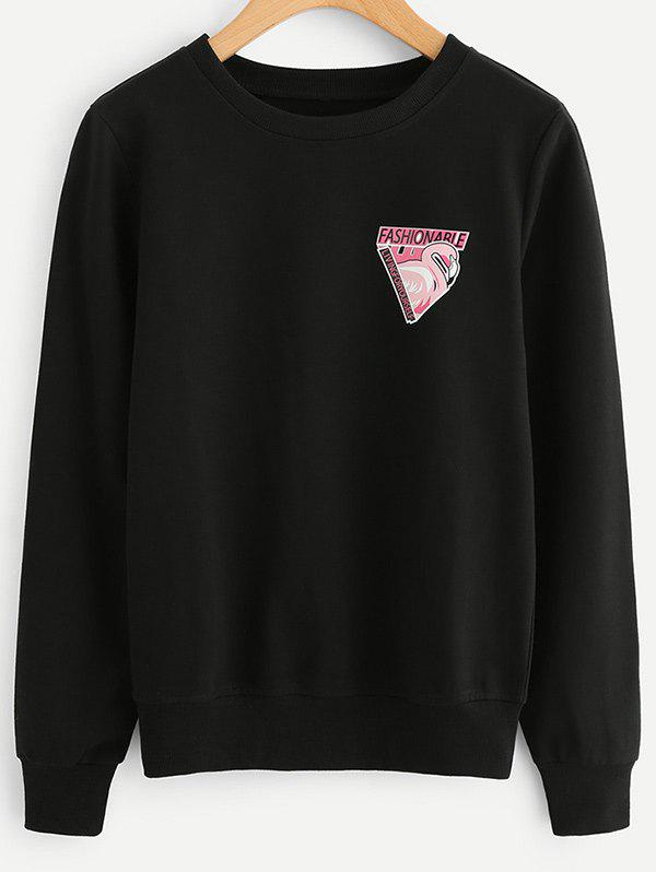 Fancy Flamingo Letter Print Sweatshirt
