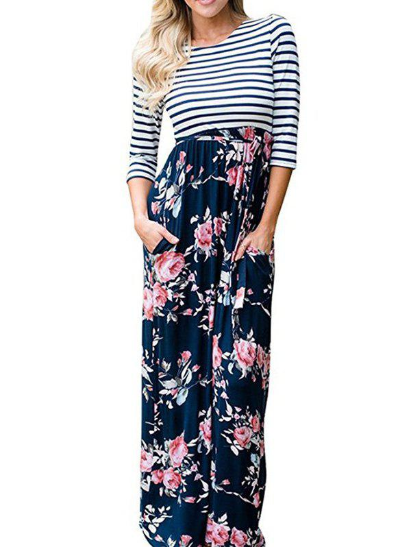 New Striped Floral Floor Length Dress