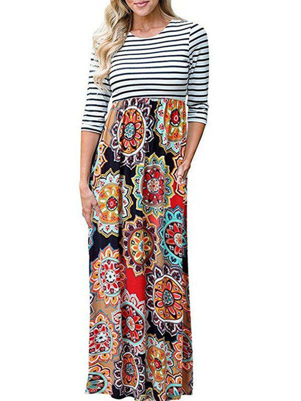 Latest Long Tribal Flower Print Striped Dress