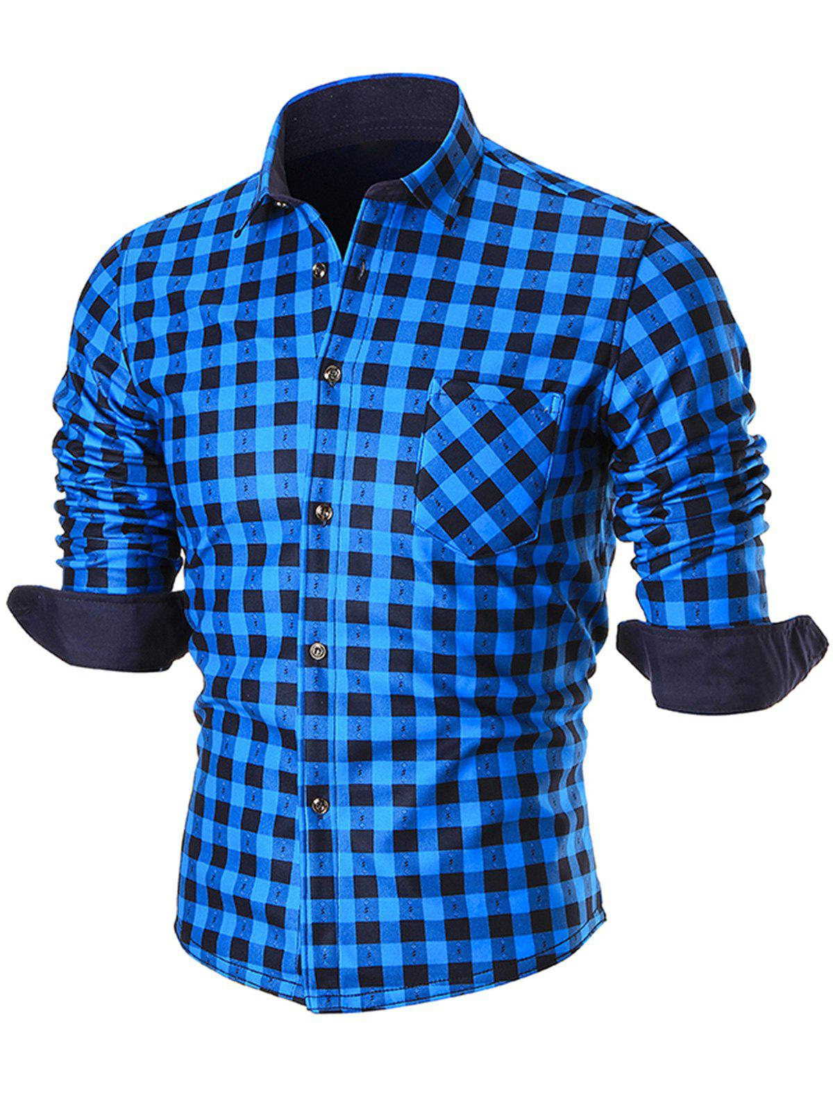 Warm Thicken Button Up Plaid ShirtMEN<br><br>Size: 2XL; Color: BLUE; Shirts Type: Casual Shirts; Material: Cotton,Polyester; Sleeve Length: Full; Collar: Turn-down Collar; Pattern Type: Checkered,Plaid,Print; Weight: 0.4400kg; Package Contents: 1 x Shirt;