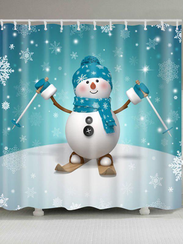 Skiing Snowman Printed Waterproof Shower CurtainHOME<br><br>Size: W71 INCH * L71 INCH; Color: MARINE GREEN; Products Type: Shower Curtains; Materials: Polyester; Pattern: Snowflake,Snowman; Style: Cute; Number of Hook Holes: W59 inch*L71 inch: 10; W71 inch*L71 inch: 12; W71 inch*L79 inch: 12; Package Contents: 1 x Shower Curtain 1 x Hooks (Set);