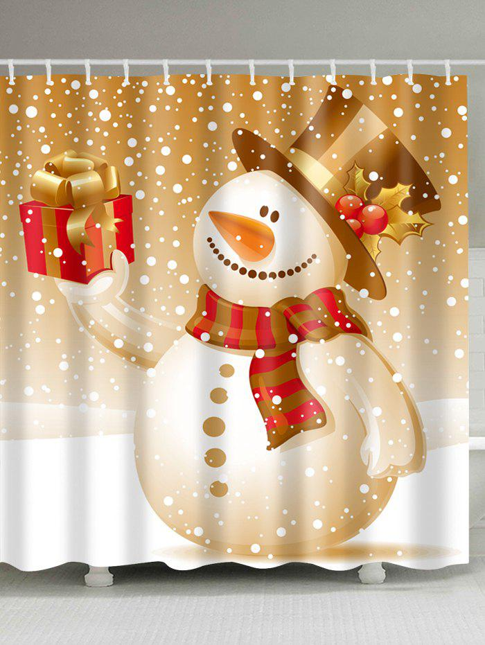 Christmas Snowman Polyester Waterproof Bath CurtainHOME<br><br>Size: W71 INCH * L79 INCH; Color: LIGHT BROWN; Products Type: Shower Curtains; Materials: Polyester; Pattern: Gift,Snowman; Style: Festival; Number of Hook Holes: W59 inch*L71 inch: 10; W71 inch*L71 inch: 12; W71 inch*L79 inch: 12; Package Contents: 1 x Shower Curtain 1 x Hooks (Set);