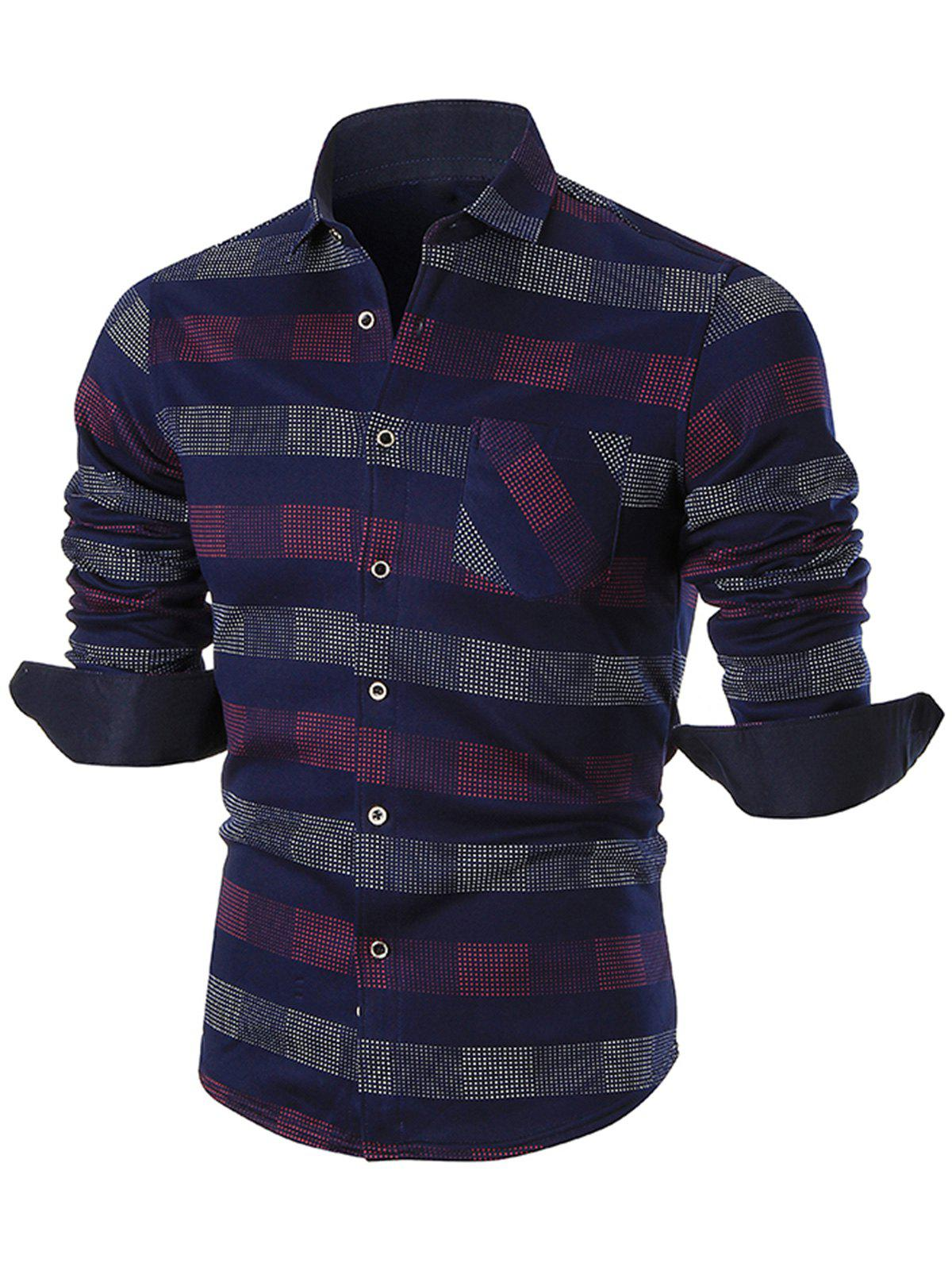 Sale Turn-down Collar Color Block Checkered Shirt