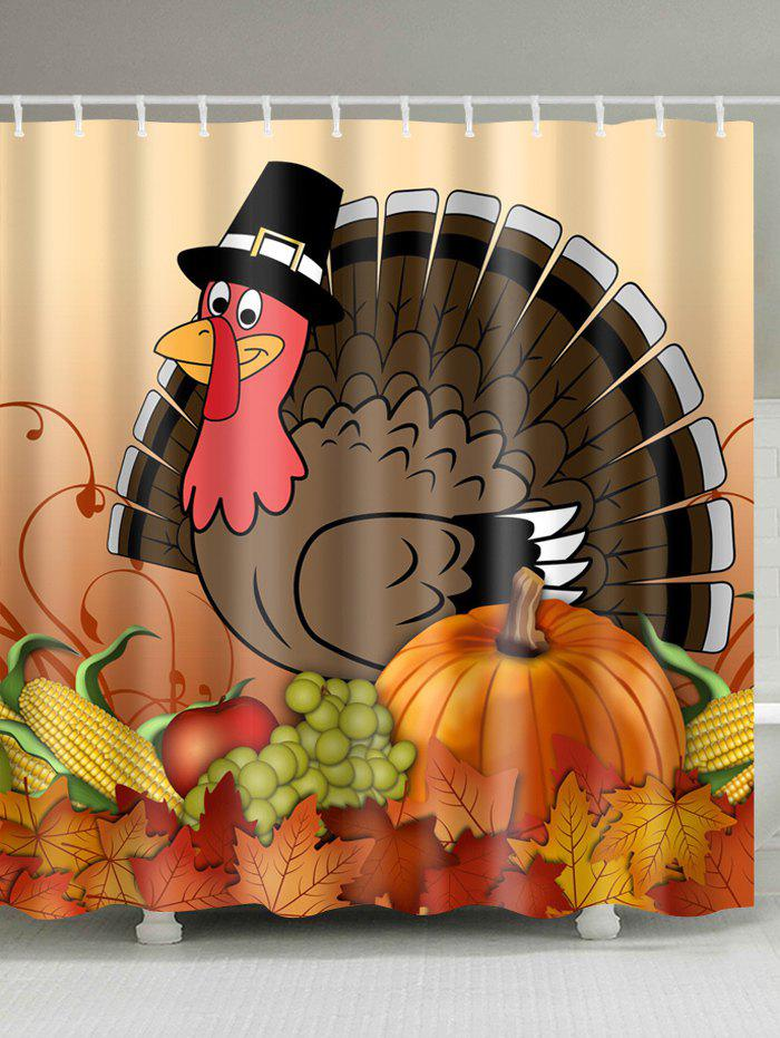 Thanksgiving Turkey Food Waterproof Shower CurtainHOME<br><br>Size: W71 INCH * L71 INCH; Color: COLORMIX; Products Type: Shower Curtains; Materials: Polyester; Pattern: Animal,Fruit,Pumpkin; Style: Festival; Number of Hook Holes: W59 inch*L71 inch: 10; W71 inch*L71 inch: 12; W71 inch*L79 inch: 12; Package Contents: 1 x Shower Curtain 1 x Hooks (Set);