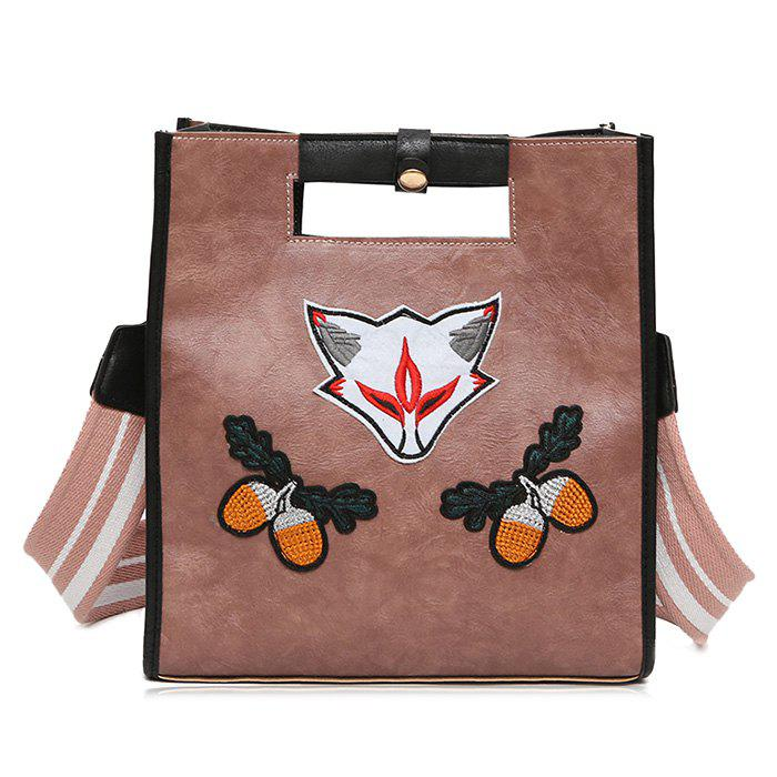 Cheap Fruit Fox Embroidery Tote Bag