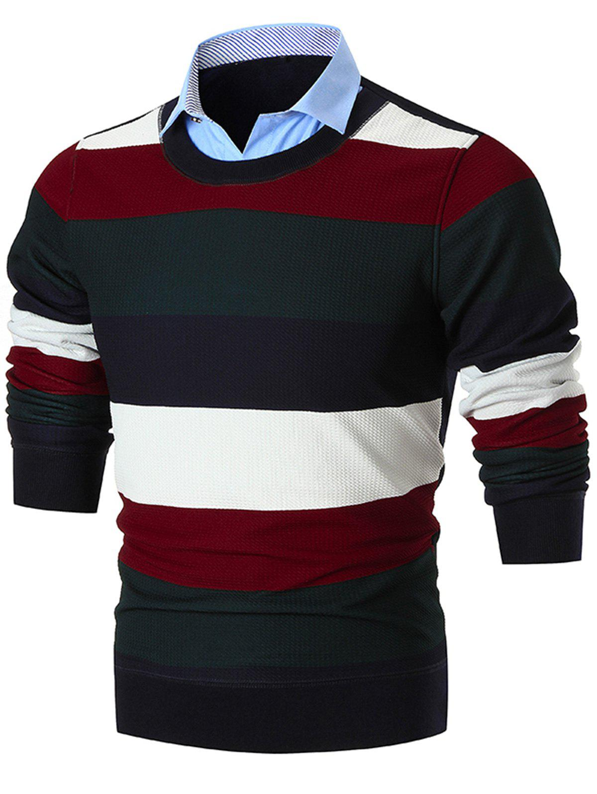 Outfits Shirt Collar False Two Piece Wide Stripe Sweater