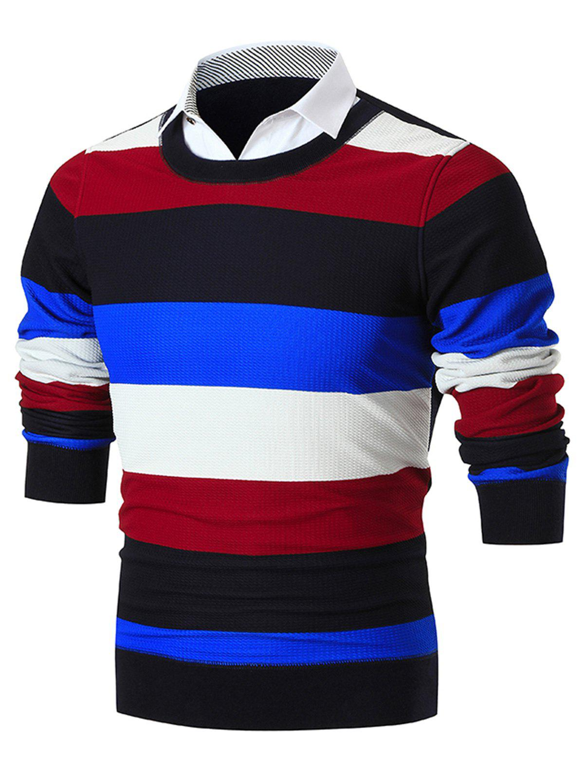 Online Shirt Collar False Two Piece Wide Stripe Sweater