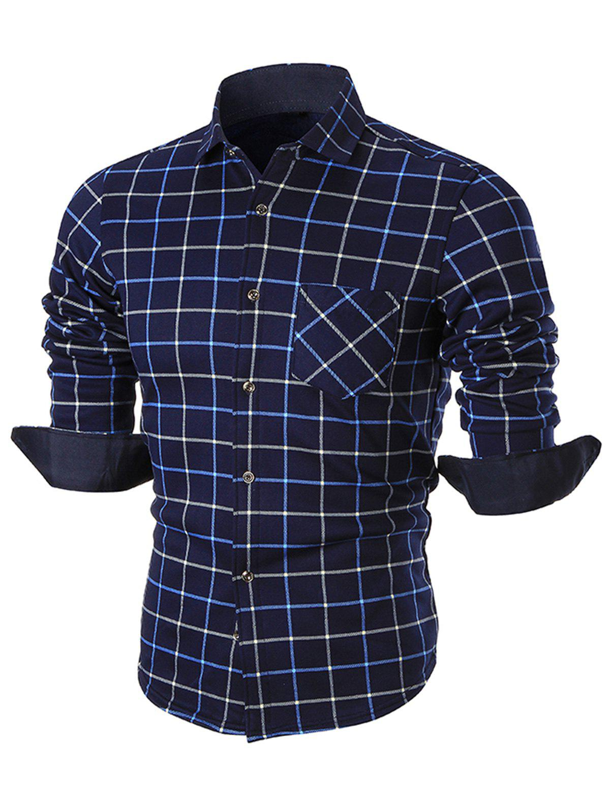 Trendy Plush-lined Pocket Checkered Long Sleeve Shirt
