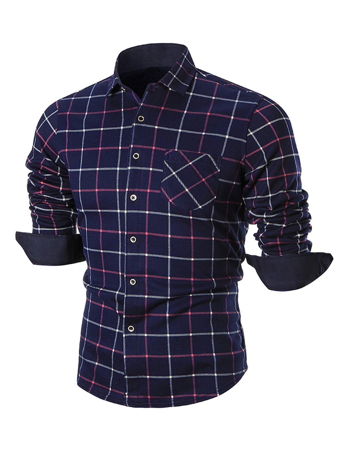 Online Plush-lined Pocket Checkered Long Sleeve Shirt