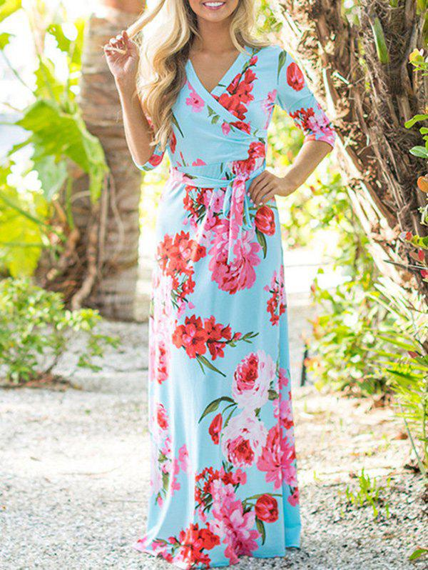 Shops Floor Length Flower Print Dress