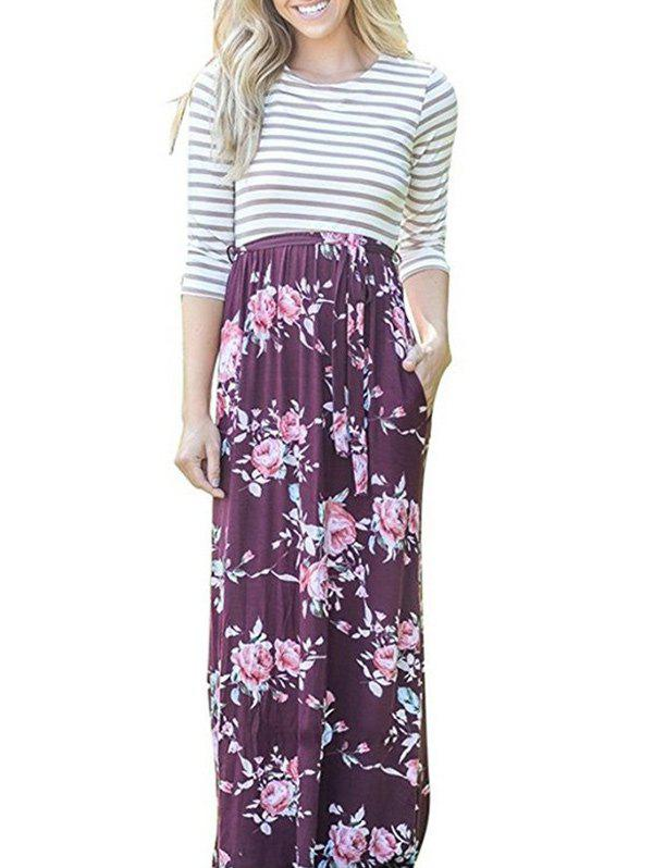 Chic Floral Striped Long Dress
