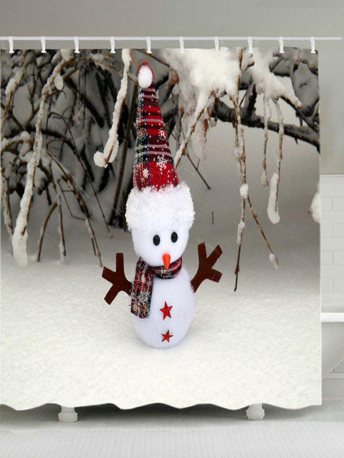 Discount Christmas Snowfield Snowman Print Waterproof Bathroom Shower Curtain