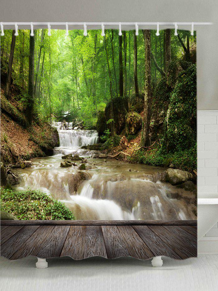 Forest Stream Wood Print Waterproof Bathroom Shower CurtainHOME<br><br>Size: W71 INCH * L79 INCH; Color: GREEN; Products Type: Shower Curtains; Materials: Polyester; Pattern: Forest; Style: Natural; Number of Hook Holes: W59 inch*L71 inch: 10; W71 inch*L71 inch: 12; W71 inch*L79 inch: 12; Package Contents: 1 x Shower Curtain 1 x Hooks (Set);