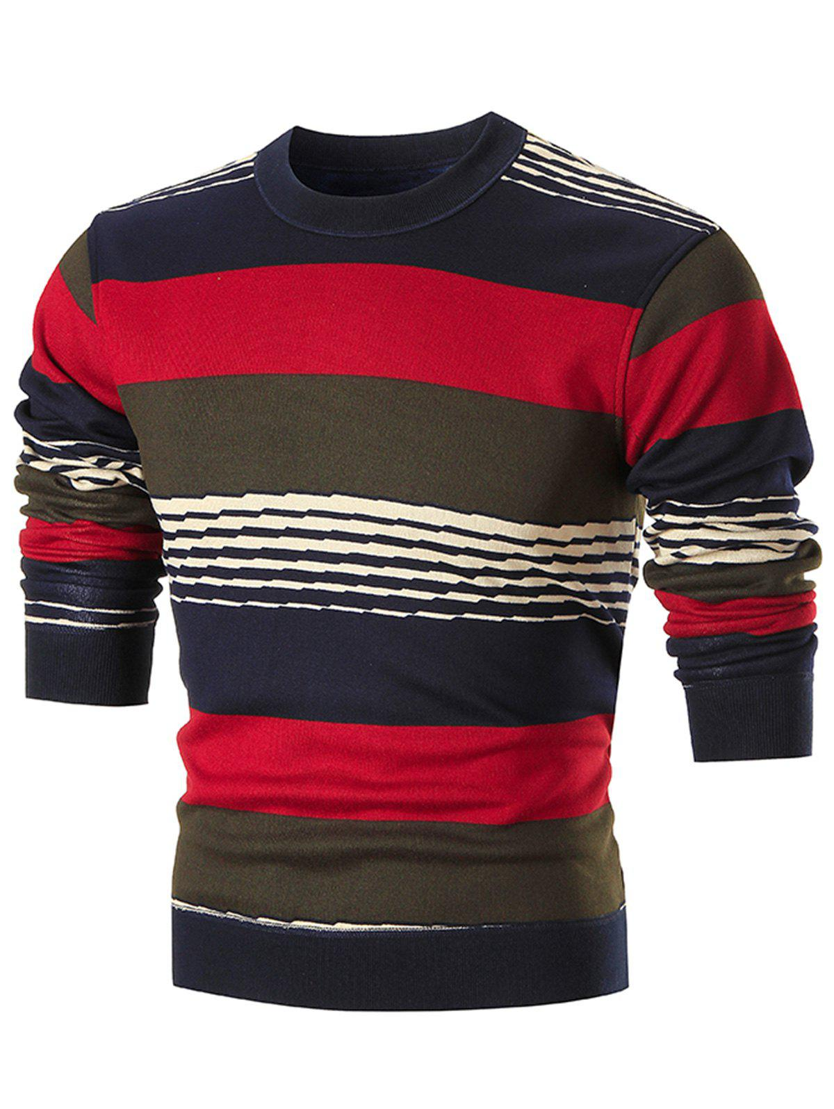 Affordable Colorblocked Wide Stripe Pullover Sweater
