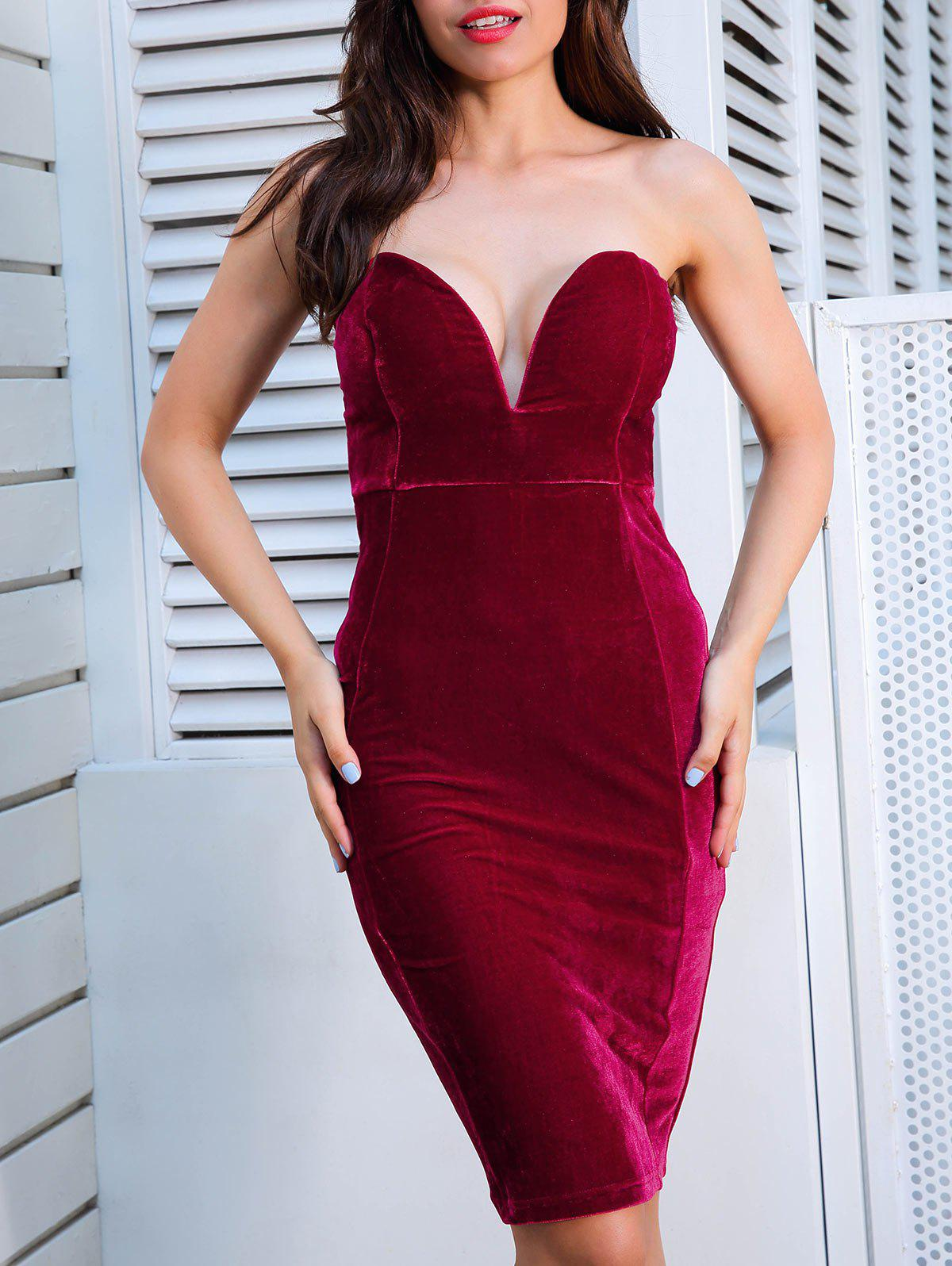 Cheap Plunging Neckline Velvet Strapless Tight Dress