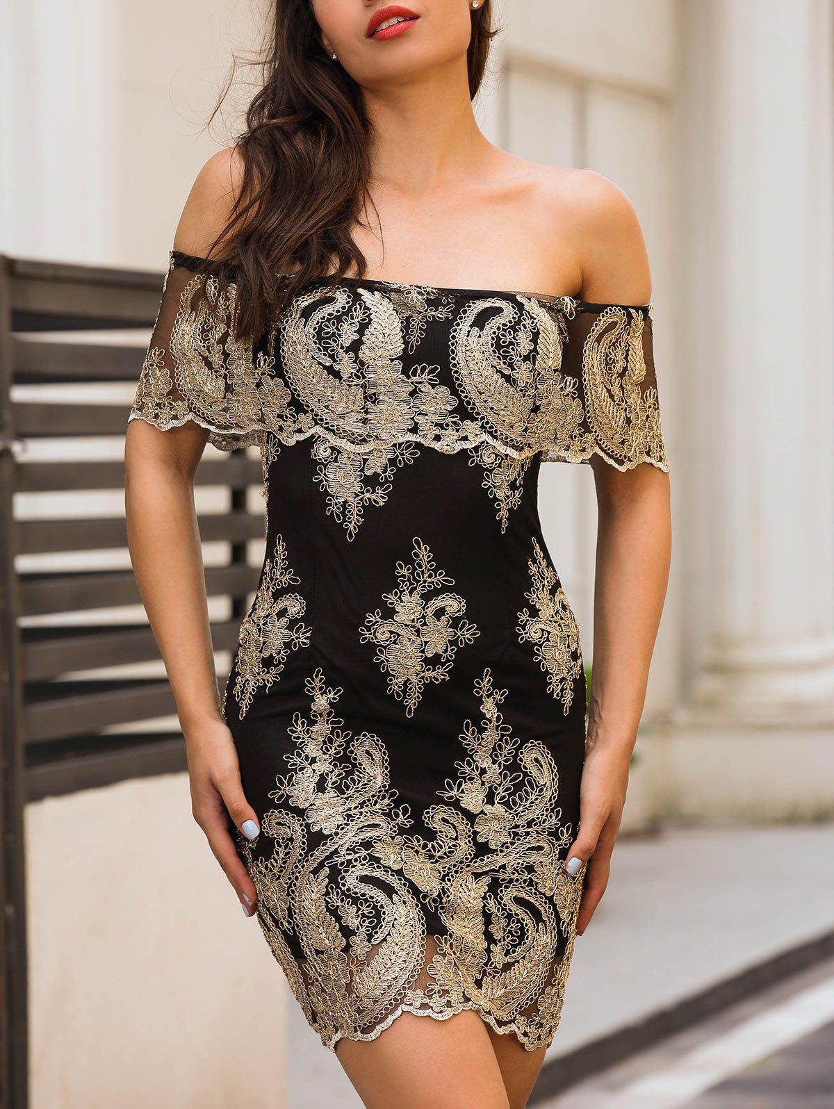 Off The Shoulder Embroidered Bodycon DressWOMEN<br><br>Size: S; Color: BLACK; Style: Brief; Material: Polyester,Spandex; Silhouette: Bodycon; Dresses Length: Mini; Neckline: Off The Shoulder; Sleeve Length: Short Sleeves; Embellishment: Embroidery; Pattern Type: Others; With Belt: No; Season: Summer; Weight: 0.3000kg; Package Contents: 1 x Dress;