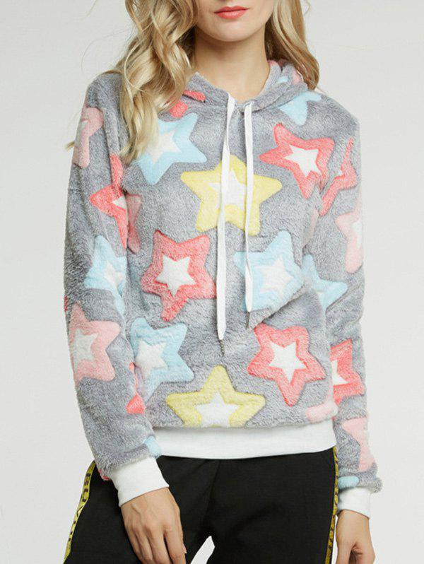 Outfits Long Sleeve Five Pointed Star Pattern Hoodie